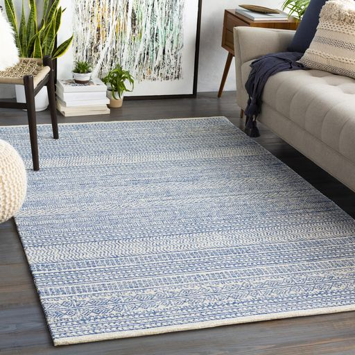 Surya S Maroc Rug Is Hand Tufted In 100 Wool And Features A Low Pile Design In Denim Cream And Taupe Motifs Eclectic Area Rug Light Grey Rug Area Rugs