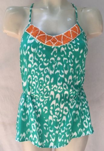BLUE RAIN GREEN WHITE ORANGE BEADED RUCHED TOP SHIRT BLOUSE SZ M