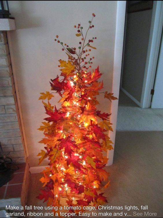 Make a Fall Tree with a Tomato Cage (Home Depot/Lowes/Walmart), a ...