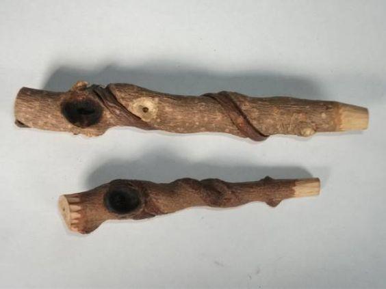 天然木 木彫り パイプ 2本 煙管 ハンドメイド 喫煙具 木工芸品_画像1