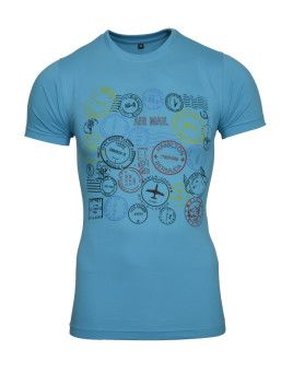 front Avenster Airmail Sky Blue Printed Men's Round Neck T-Shirt
