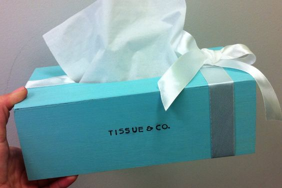 The inspiration for our bathroom design! Sold out (but ill make a look alike np): Tiffany blue tissue dispenser bathroom kleenex cover by PrettyMint, $10.75