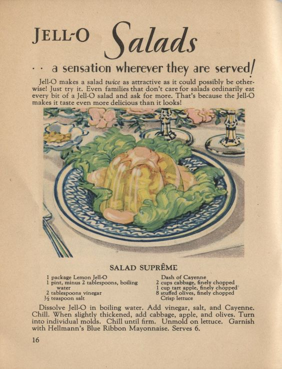 The Past on a Plate: Vintage Recipe Thursday: Nasty Jell-O of the Month
