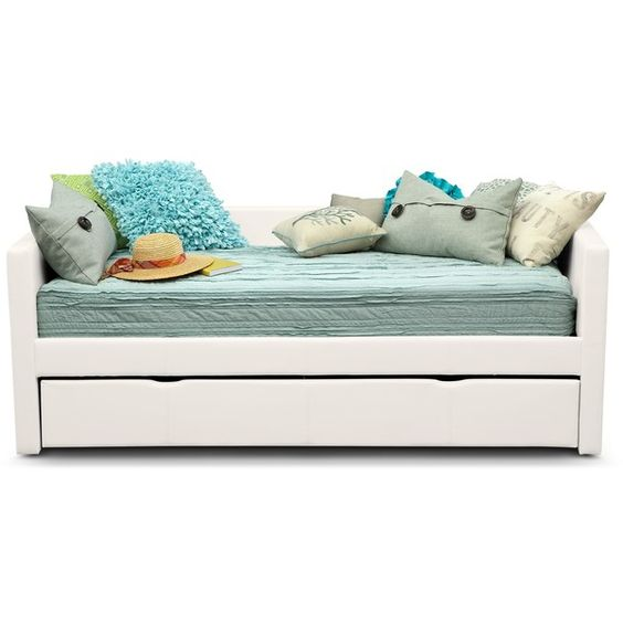 Carey IV Twin Daybed with Trundle ($300) ❤ liked on Polyvore featuring home, furniture, sofas, trundle bed, trundle daybed and trundle day beds