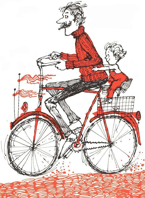 Padre e Hijo en Bicicleta.