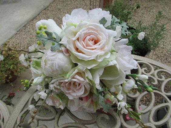 New Blush Garden Spring Bridal Bouquet Cottage by modagefloral, $185.00
