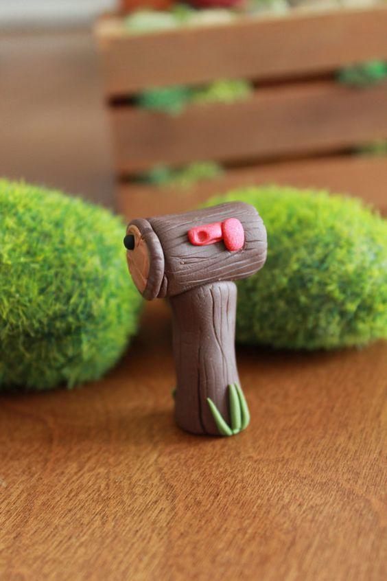 Log Mailbox Polymer Clay Terrarium Accessory by GnomeWoods