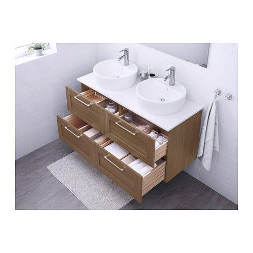 GODMORGON/ALDERN / TÖRNVIKEN Waschbschr+Aufsatzwaschb 45 - weiß, Nussbaumnachbildung - IKEA