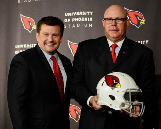 Arizona Cardinals president Michael Bidwill (left) and head coach Bruce Arians (right) pose for a photo during a press conference at the Arizona Cardinals Training Facility. (Matt Kartozian-USA TODAY Sports)