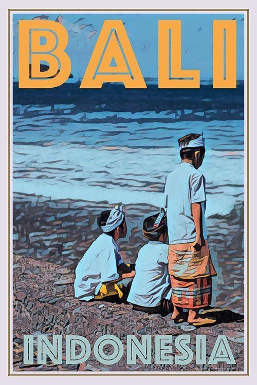 Bali Indonesia My Retroposter Retro Travel Poster Vintage Travel Posters Travel Posters