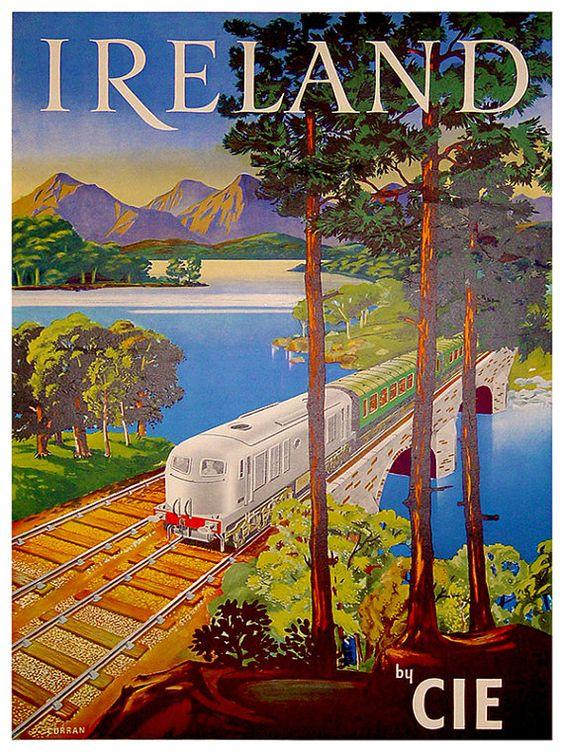 Art Ireland Travel Print Irish Vintage Poster by Blivingstons