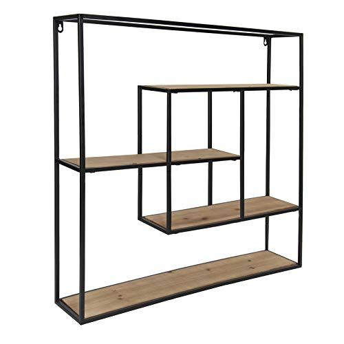 Kate And Laurel Ulna Large Modern Decorative Floating Wall Shelves With Black Metal Frame Rustic Brown Wood Kat In 2020 Floating Wall Shelves Wall Shelf Decor Shelves