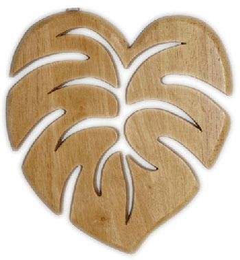 Wood Carved Tropical Monstera Leaf Hawaiian Trivet