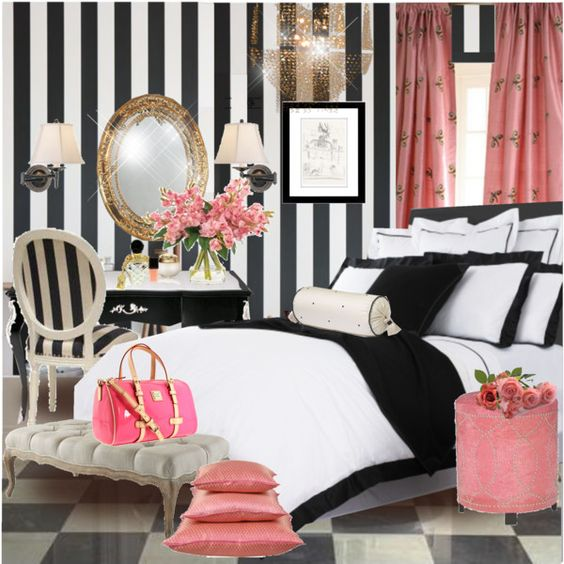 Girly Bedrooms and Stripes on Pinterest