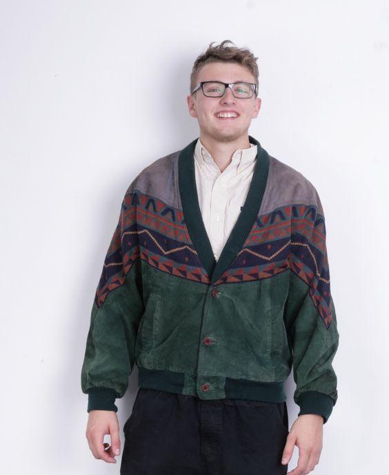 Vintage Mens S Jacket Green Leather Aztec Festival Suede