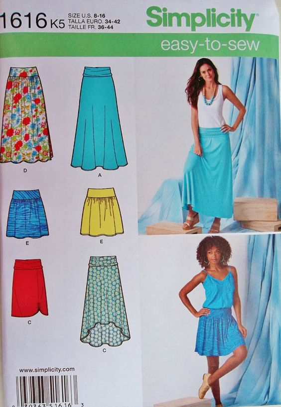 Stretch Knit Sewing Patterns : Stretch Knit Fabric Skirts Pattern, Misses Skirt Pattern, Easy Skirts Pattern...