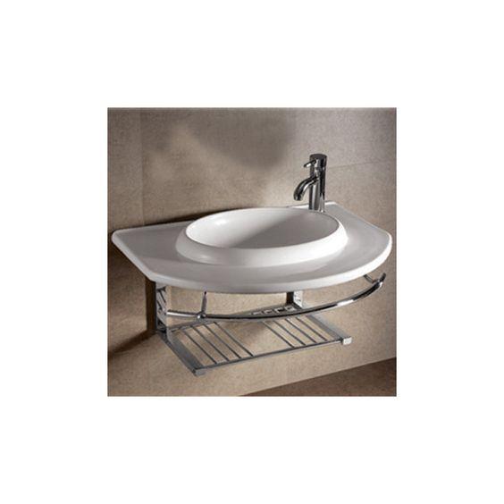 isabella large ushaped bowl bathroom sink with chrome shelf and, Home design