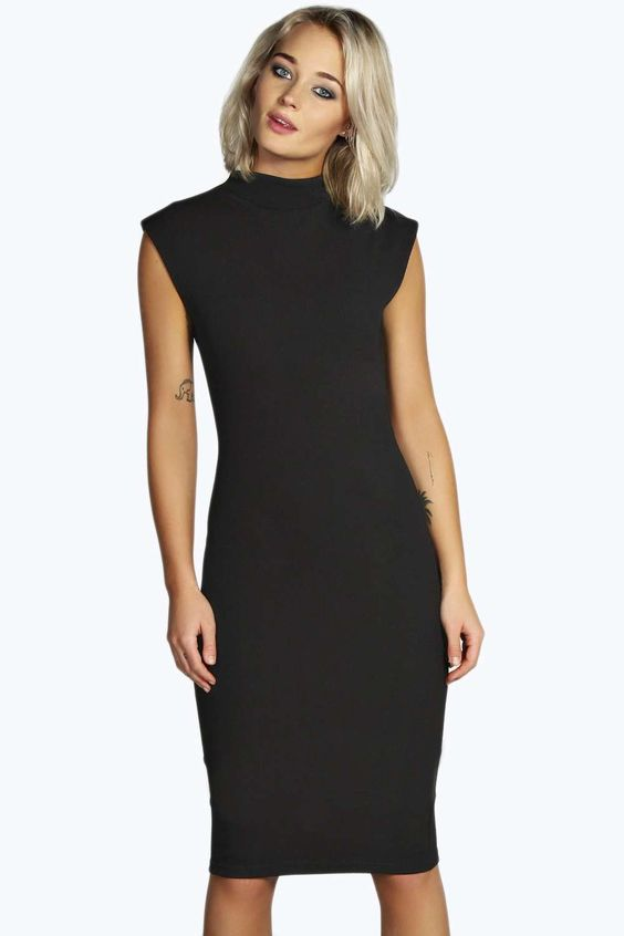 Rachel High Neck Bodycon Midi Dress alternative image $26