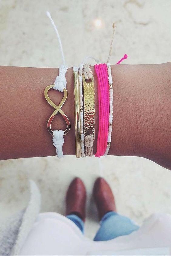 Pura Vida stacked bracelets, handmade in Costa Rica.: