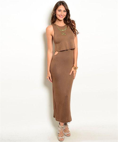 Mocha Peek-a-boo Dress tan bodycon dress