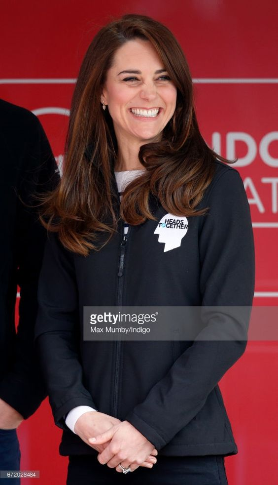 Catherine, Duchess of Cambridge attends the start of the 2017 Virgin Money London Marathon on April 23, 2017 in London, England. The Heads Together mental heath campaign, spearheaded by The Duke