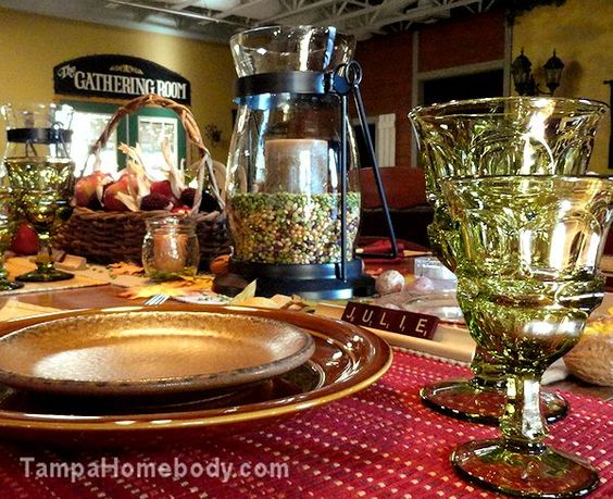 Tablescapes | Fall | Dinner Table - Candles with Popcorn, Peas and Beans