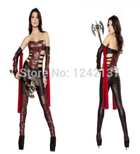Nieuwe ontwerp lederen jurken gladiatoren cospaly kigurumi superhero kostuum voor halloween party(China (Mainland))