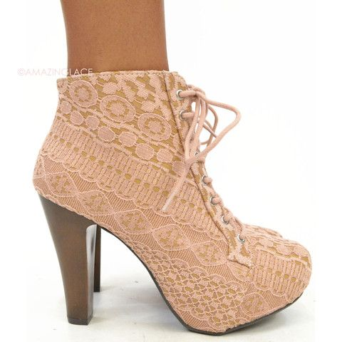 cute sweet lace blush pink platform wooden heels chic classy ...