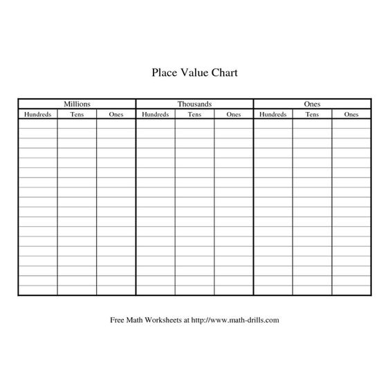 Free Math Foldables Simple place value chart This is your index - place value chart
