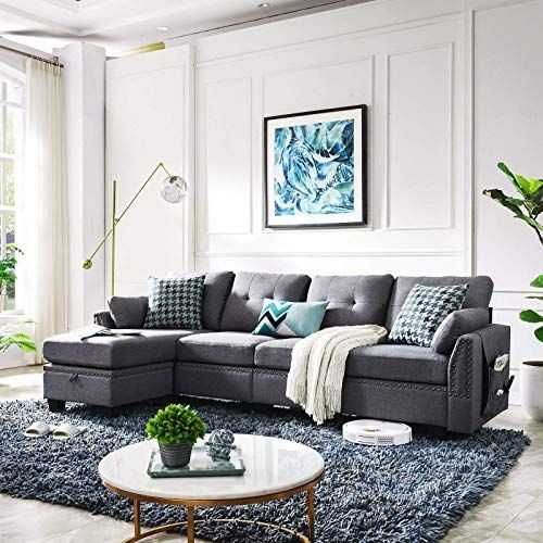 New Honbay Reversible Sectional Sofa Couch Living Room L Shape Sofa Couch 4 Seat Sofas Sectional Apartment Dark Grey Online Shopping Findtopbrandsgreat In 2020 Grey Couch Living Room Living Room Grey Couches