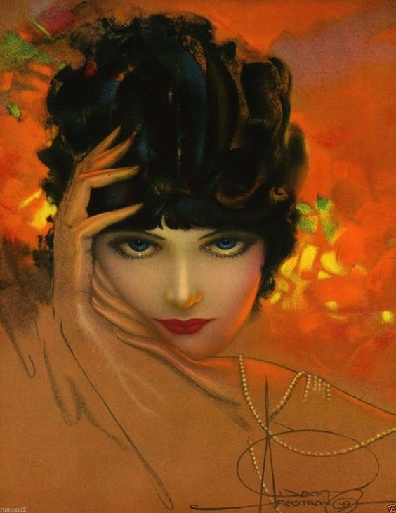 c 1920s illustration by Rolf Armstrong, pinup artist.