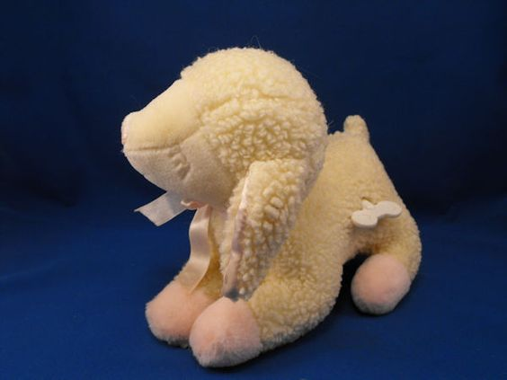 New product 'RUSS 5818 White Asleep Lullaby Lamb Pink Accents Jesus Loves Me' added to Dirty Butter Plush Animal Shoppe! - $10.00 - RUSS No. 5818 Plush Stuffed White Sleeping LULLABY LAMB Wooly Sherpa Lamb Pink Velour Feet, Ribbon, White Satin Ears - P…