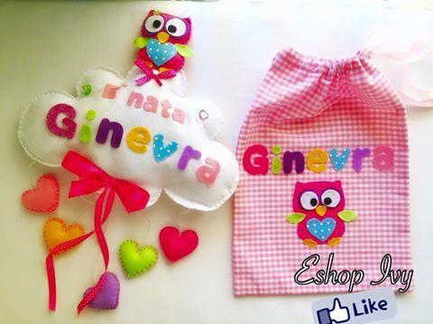 set fiocco nascita con sacchetto primo cambio personalizzati con nome bimba o bimbo rosa o azzurro