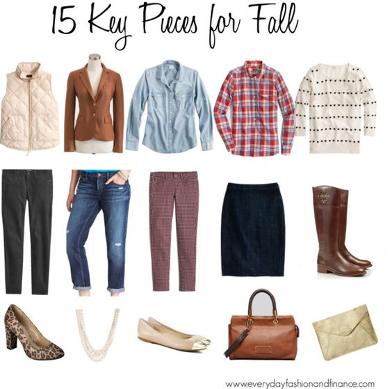 Vest. Blazer. Denim top. Flannel. Sweater. Black pants. Jeans. Colored pants. Pencil skirt. Riding boots. Heels. Chunky necklace. Flats. Large bag. Clutch.