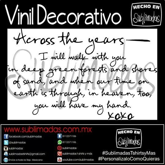 Vinil Decorativo - Across The Years #SublimadasTshirtsyMas #PersonalizaloComoQuieras