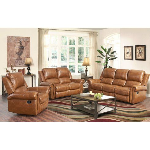 Darby Home Co Vanhoy Reclining 86 Pillow Top Arm Sofa Wayfair Leather Living Room Set Living Room Leather Living Room Sets