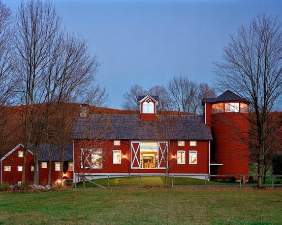 Streamside Barn House With Silo Observation Tower American Colonial Farmhouse Rustic TraditionalNeoclassical Front Facade By Haver Skolnick