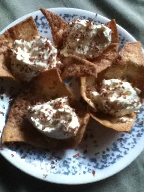 Chachos! Cream Cheese, Whipped topping, Vanilla Custard and Cinnamon/Sugar Tortilla chips...topped with shaved chocolate!