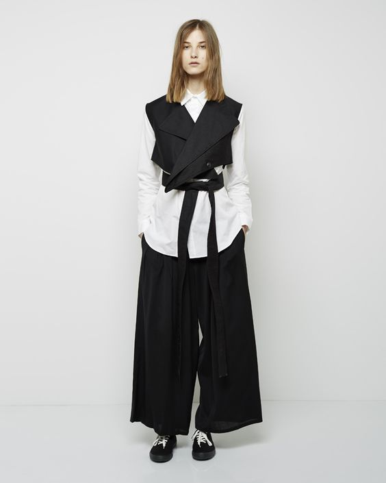 Yohji Yamamoto / Rain Covered Trench Coat, Regular Shirt, Wide Tuck Pants, Topsider