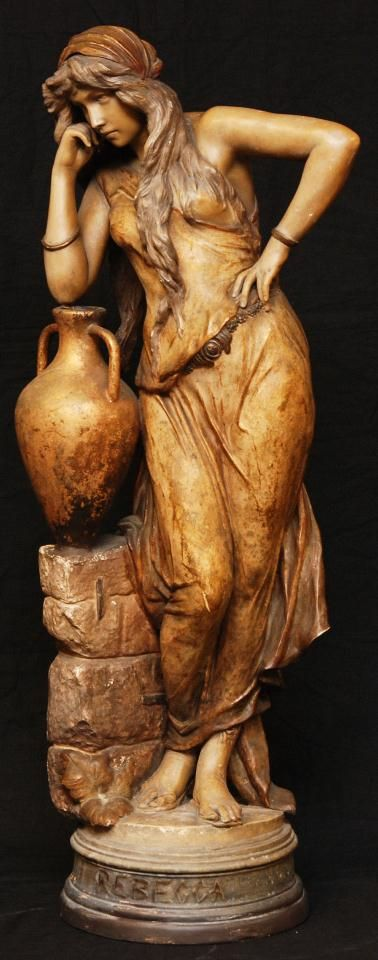 19th C. TERRACOTTA FIGURE OF REBECCA AT THE WELL Friedrich Goldscheider Company (AUSTRIAN, opened 1885). Large antique Terracotta figure depicting Rebecca at the Well. Beautifully designed and gilded.:
