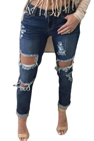 Contemporary Distressed Jeans - Neptune Wild   - 1