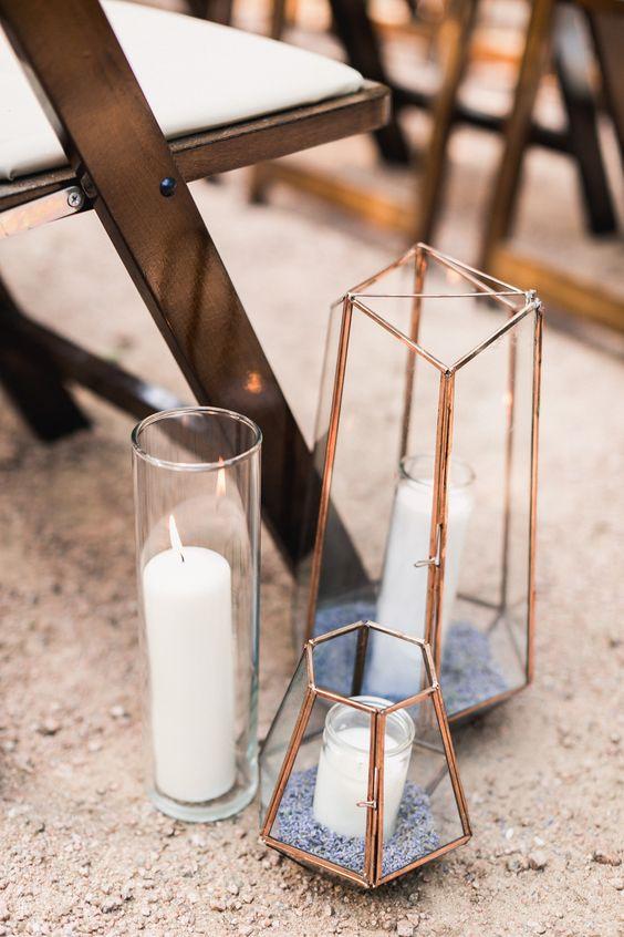 terrariums with candles, terrariums wedding, terrariums lavender candle, purple wedding ceremony ideas, purple wedding details, lavender wedding ceremony aisle decorations, lavender wedding decorations,