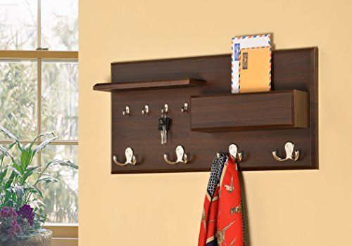 Amazon Com Entryway Coat Rack Mail Envelope Storage And Key Holder Hooks In Cappuccino Finish Office Produ Entryway Coat Rack Coat Rack Picture Frame Hangers