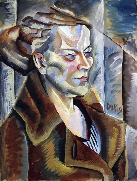 Bildnis einer Frau in brauner Jacke; 1919; Otto Dix