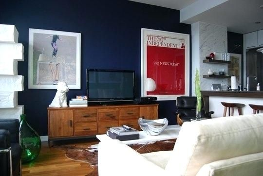 Image Result For Navy Blue Accent Wall Living Room Tv Wall Living Room Tv Industrial Style Living Room