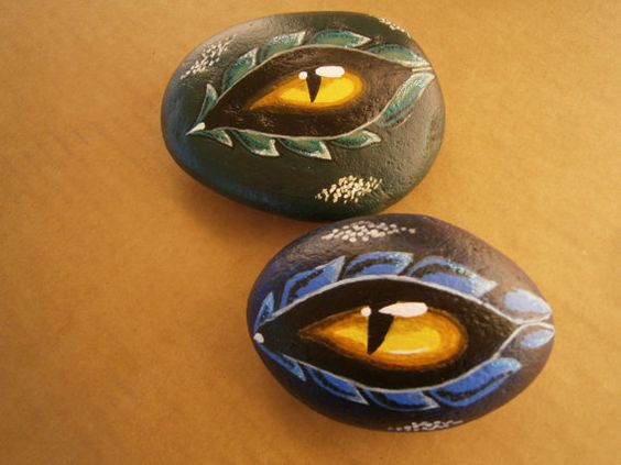 """Painted rocks """"Dragon Eye"""" on Etsy, $14.00 - Kids would love them!"""
