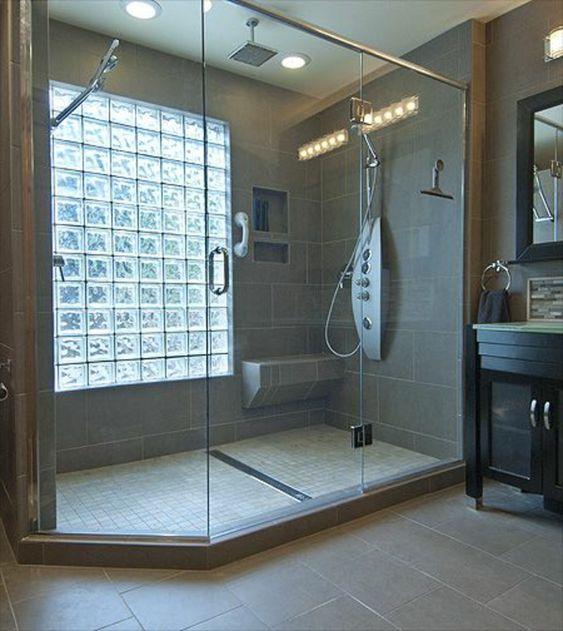 Carreau de verre pour salle de bain - Lumiere douche italienne ...