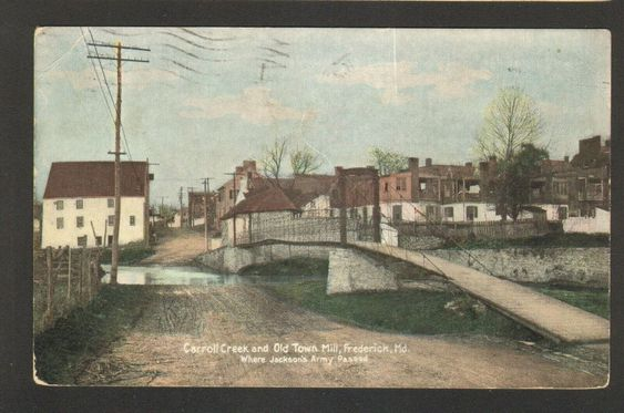 1910 Postmarked Postcard Carroll Creek and Old Town Mill Frederick Maryland MD - Advintage Plus