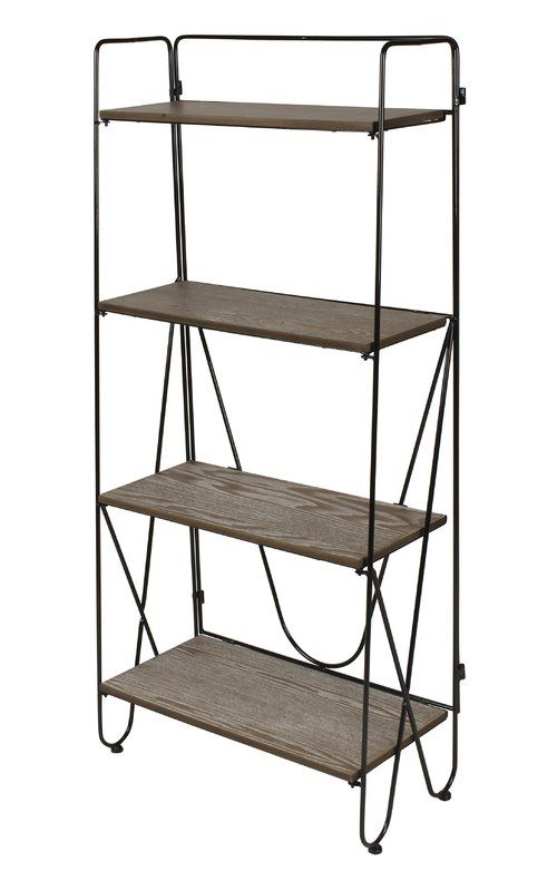 Thornberry Etagere Bookcase 22 Wide 220 Metal Bookshelf Wood And Metal Bookcase