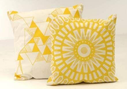 June Craft Hand-screened + sewn Mabel Pillow, 25; Small Talk Hand-screened + Sewn Graphic Pillow, 30.  Juice Gift Guide 2011